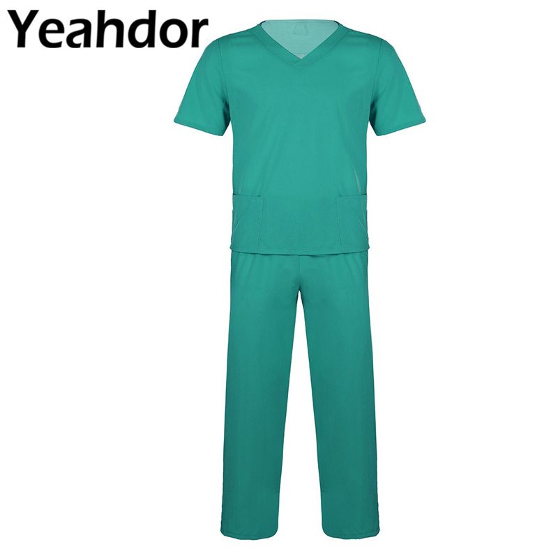 Adults Mens Doctor Scrubs Nursing Uniform Suits Short Sleeves Top & Elastic Waisted Long Pants Unisex Lab Nurse Costumes 2Pcs(China)