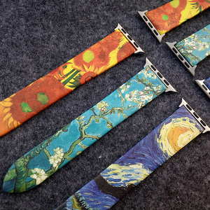 Image 4 - Van Gogh Art Printed Leather Band for Iwatch Strap Series 5 4 3 2 1 Flower Wrist Strap for Apple Watch Band 40mm 38mm 44mm 42mm