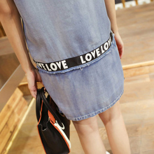 Summer Dresses For Women Casual O Neck Straight Jeans Dress Cartoon Design Denim Pattern Short Sleeve Shirt Dresses Femme WICCON