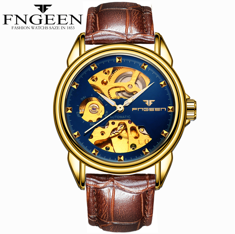 Relogios Masculino Luxury Brand FNGEEN Automatic Watches Men Casual Gold Watch Mechanical winner skeleton mechanical watch luxury men black waterproof fashion casual military brand sports watches relogios masculino