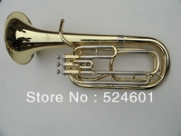 Wholesale A Beautiful Gift Professional 3 Straight Key Bb Bass French Horn Is Golden