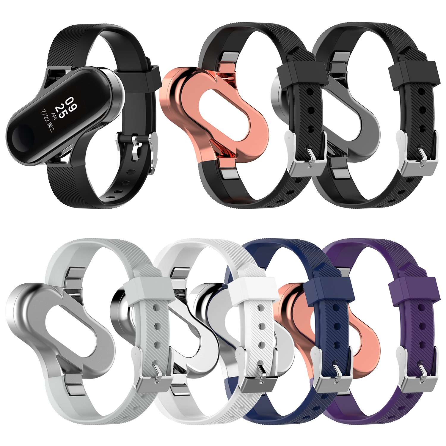 For Xiaomi Mi Band 3 Silicone Tainless Steel Wrist Strap MetalWatch Smart Bracelet Not For Miband 4 Belt Replaceable Watch Strap