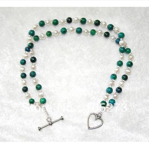 New Arriver Jewellery Blue/Green Chrysocolla Gem Stone Beads White Freshwater Double Bracelet 4-8mm Wholesale Free Shipping