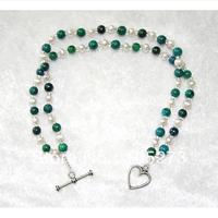 Nieuwe arriver sieraden blauw/groen chrysocolla gem kralen witte zoetwater dubbel armband 4-8mm groothandel gratis verzending