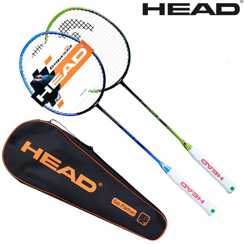 2 Pieces HEAD badminton rackets carbon Light Badminton Racquet High Quality Sports Badminton SM700 with strung for couple-in Badminton Rackets from Sports & Entertainment    1