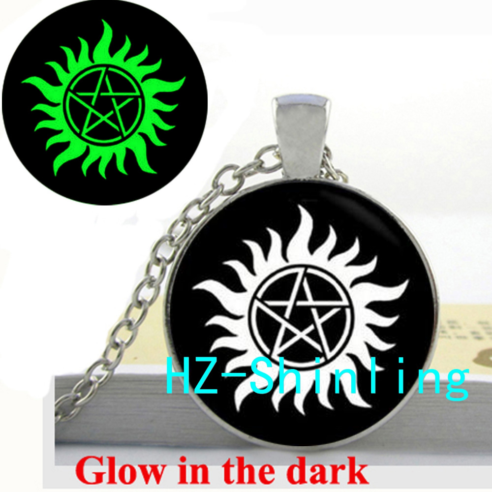 New Fashion Glowing Supernatural Inspired Necklace Supernatural Glow in The Dark Jewelry Glass Photo Cabochon Necklace