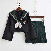 Japanese Classical Long sleeved Navy Sailor Suit Uniforms With Bow High School Schoolgirl Cute Uniform XJ8301