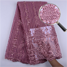 Latest Onion French Lace Fabric 2019 High Quality Lace Embroidery French Mesh With Beads Nigerian Lace Fabrics Material A1399