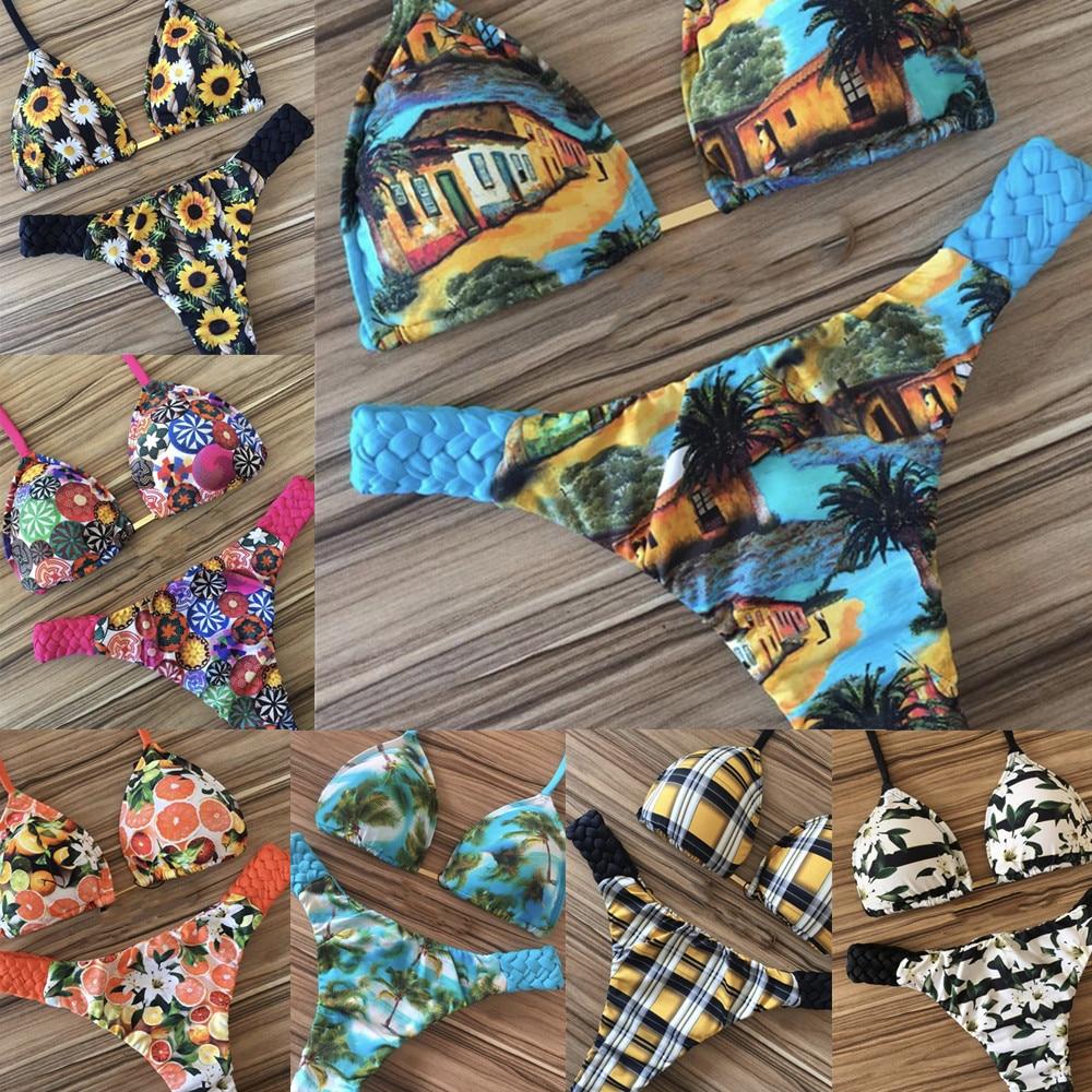 2019 Halter Printing Bikini Sexy Swimsuit Female Swimwear Women Push Up Bikini Set Brazilian Bathing Suit Bandeau Swim Suit