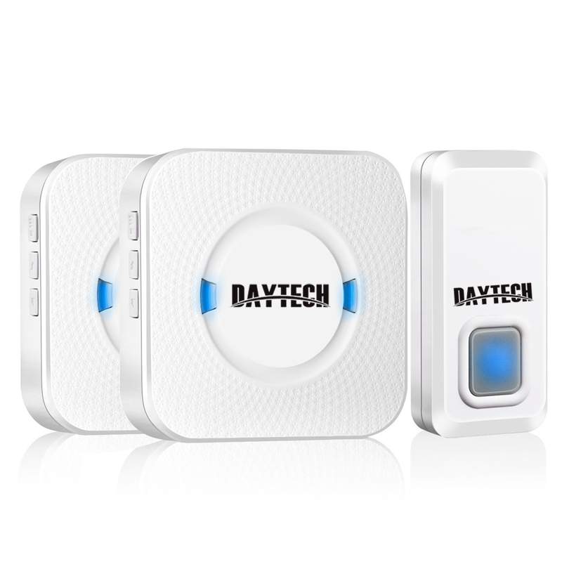 DAYTECH Plug-in Wireless Door Bell Waterproof Doorbell 2 Receivers LED Indicator 1 remote Button Range 300 in open area wireless service call bell system popular in restaurant ce passed 433 92mhz full equipment watch pager 1 watch 7 call button