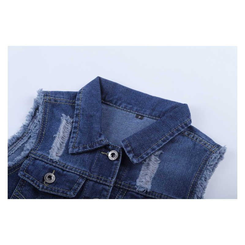 Джинсовый жилет женский короткие куртки 2019 модные отложной воротник однобортный Кардиган-безрукавка Повседневное жилет Для женщин Джинсовое пальто