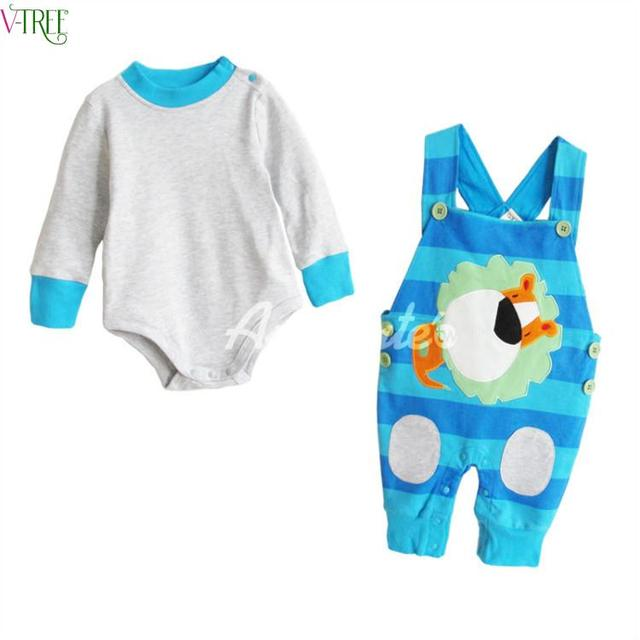 V-дерево 2016 весна комплект одежды младенца мальчик одежды младенца девушка одежда ребенка комбинезон bebe боди и брюки набор костюм