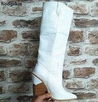 Синие высокие модные сапоги из натуральной кожи; женские сапоги до колена на массивном каблуке в ковбойском стиле; женская обувь