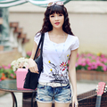 2017 verão nacional do vento impressão floral t-shirt das mulheres t-shirt de algodão Fino feminino temperamento t-shirt ocasional das senhoras vestidos