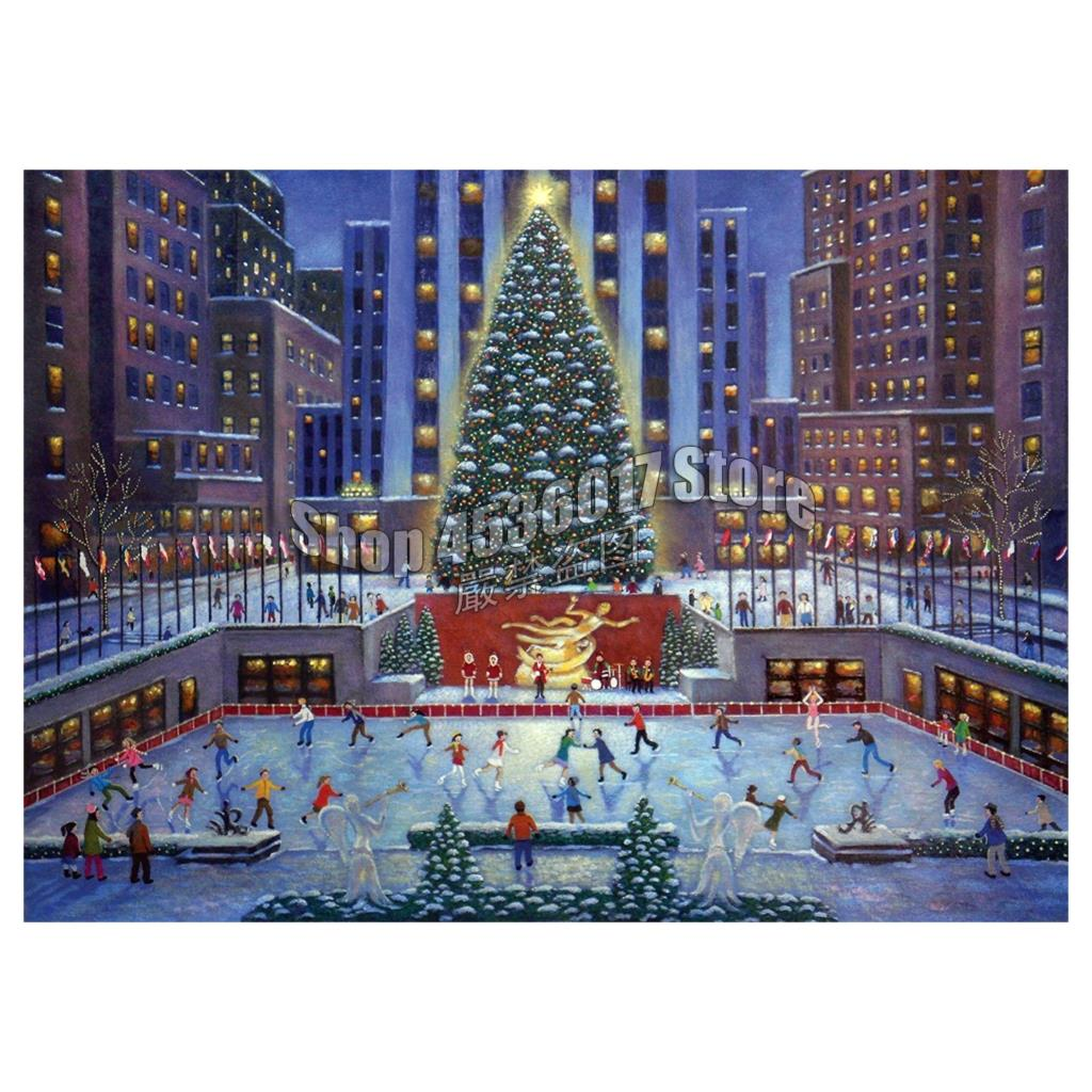 Rockefeller Center 5D Diy Full Diamond Painting Cross Stitch Kit Mosaic Christmas City Art Gifts Diamond Embroidery Home Decor