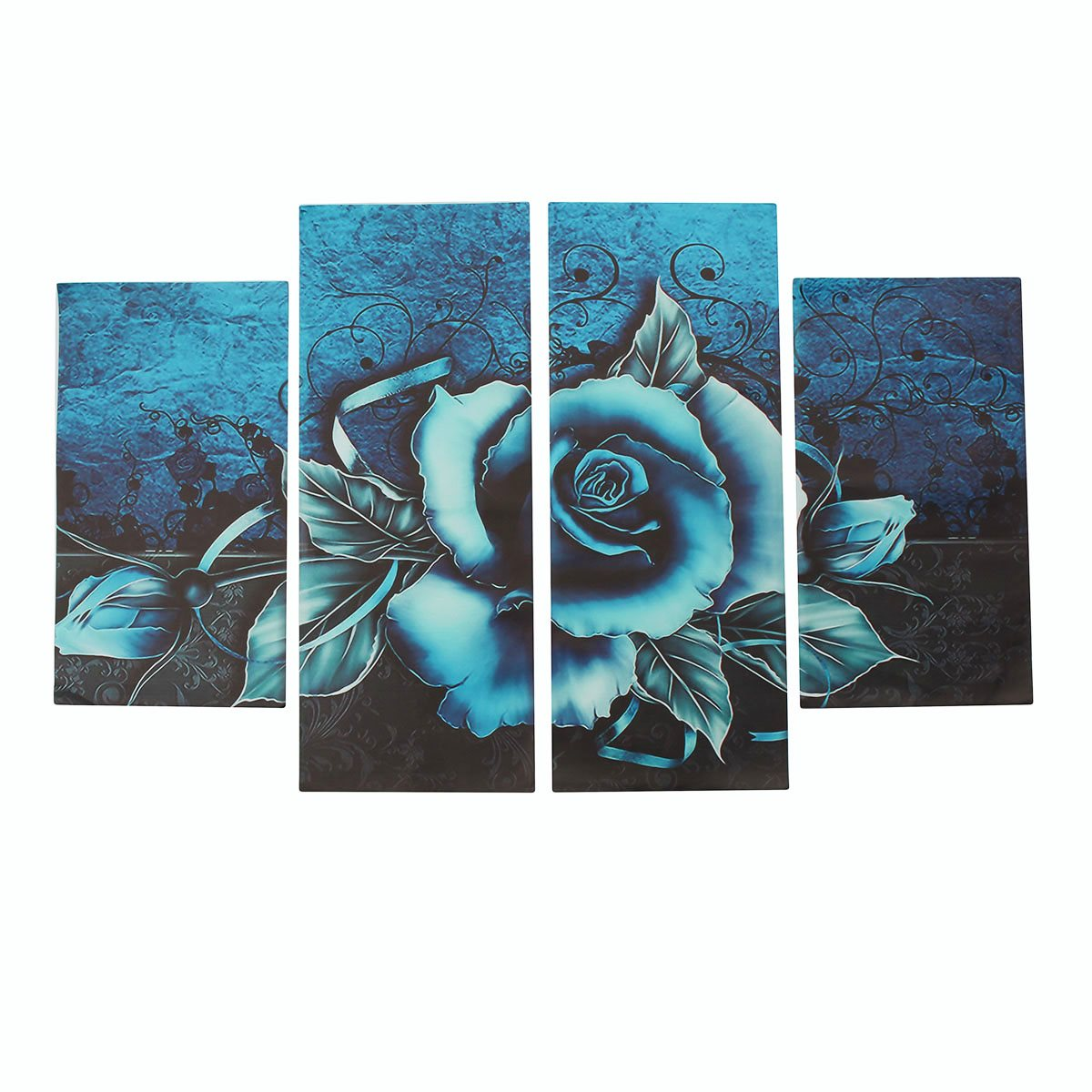 4pcspack modern teal rose floral flower canvas wall painting art pictures for home living