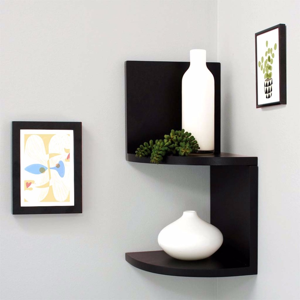 Elegant floating wall corner shelf unit wall mounted Corner wall mounted shelves