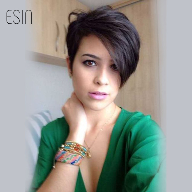 Esin 8 Inch Short Wigs For Black Women Fashion Side Parting Pixie