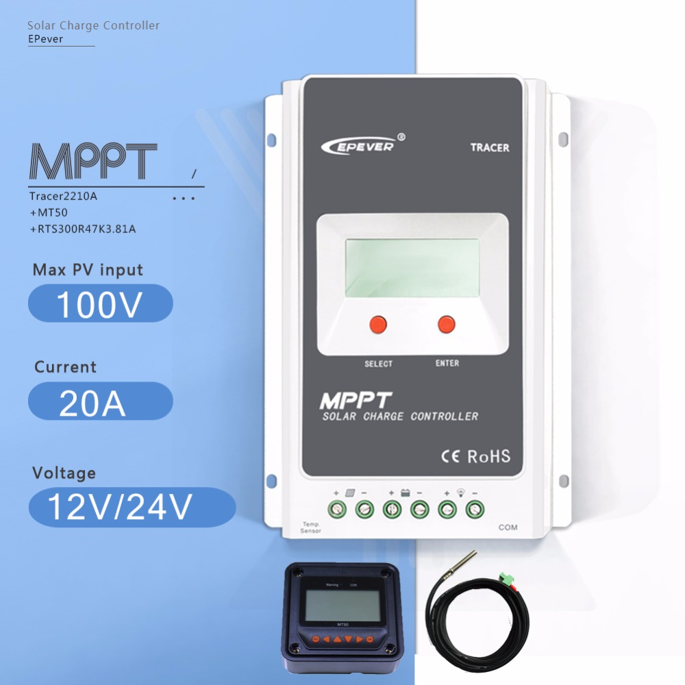 MPPT 20A Tracer 2210A Solar Charge Controller 12V/24V Auto Solar Battery Charge Regulater with MT50 Meter and Temperature Sensor 20a 12v 24v ep epipdb com dual duo two battery solar charge controller regulators with mt 1 meter