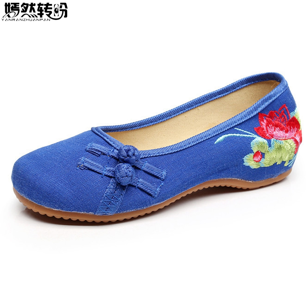 Vintage Women Shoes Flats Lotus Embroidery Slip On Cotton Simple Comfortable Old Peking Ballerina Shoes Woman Sapato Feminino vintage embroidery women flats chinese floral canvas embroidered shoes national old beijing cloth single dance soft flats