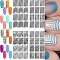 3 Folhas/lote Nail Stickers Template Stamping Ferramentas Da Arte do Prego Adesivos de Unhas Vinis Oco Irregular Grade Estêncil Reutilizáveis M03267