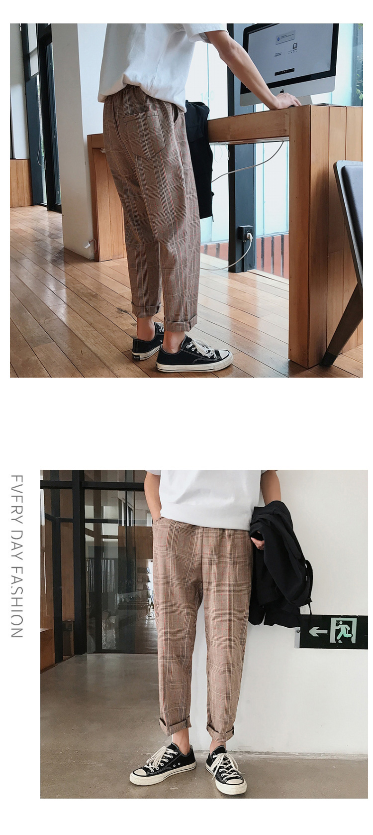 LAPPSTER Streetwear Yellow Plaid Pants Men Joggers 19 Man Casual Straight Harem Pants Men Korean Hip Hop Track Pants Plus Size 16
