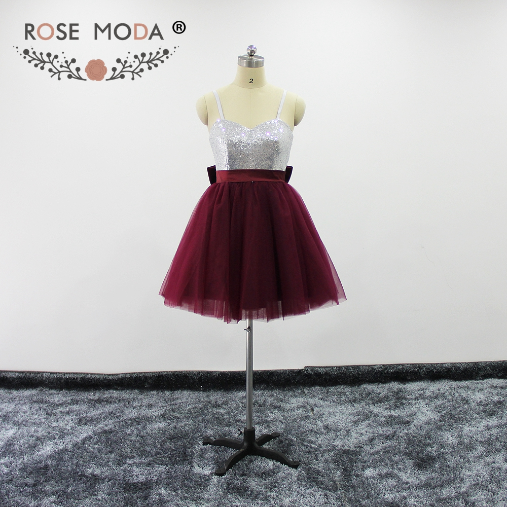 Rose Moda Bling Silver Sequined Burgundy Short Prom Dresses with Puffy Skirt Removable Thin Straps Xmas Party Dresses