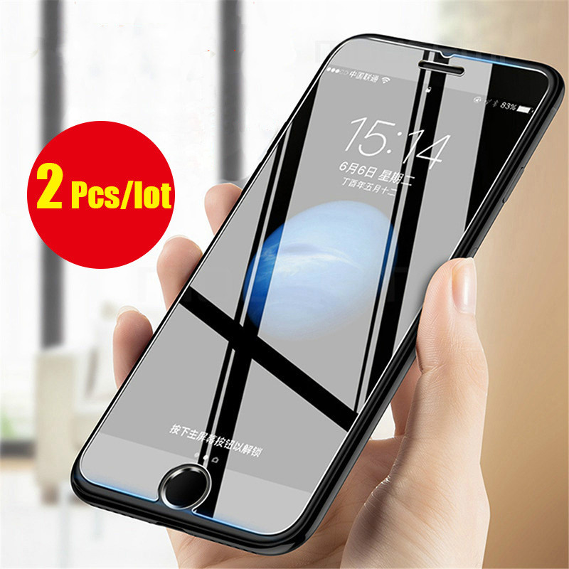 2PCS/lot protective glass for iphone7plus screen protector 9H 2.5D tempered iphone 7 8 iphone5s 6s 6plus XS XR2018
