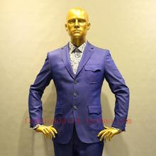 royal blue jeans cotton 3 patch pocket nortch lapel man's fashion casual suit, custom tailor made man's MTM suit free shipping
