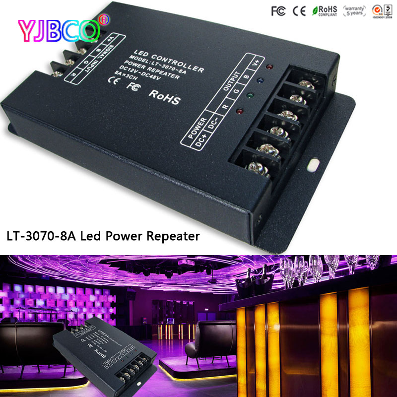 цена на led controller LT-3070-8A Led CV Power Repeater(amplifier),DC12-48V input;8A*3CH output for single color/rgb led strip
