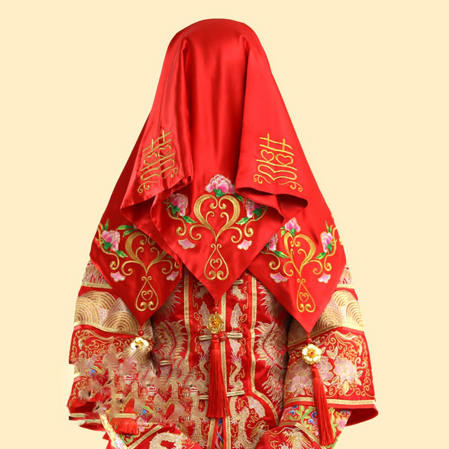 4316a9247 10 designs Ancient Chinese Wedding Bride Red Head Veil and Xi Cheng Hanfu  Accessory Wedding Props Accessories