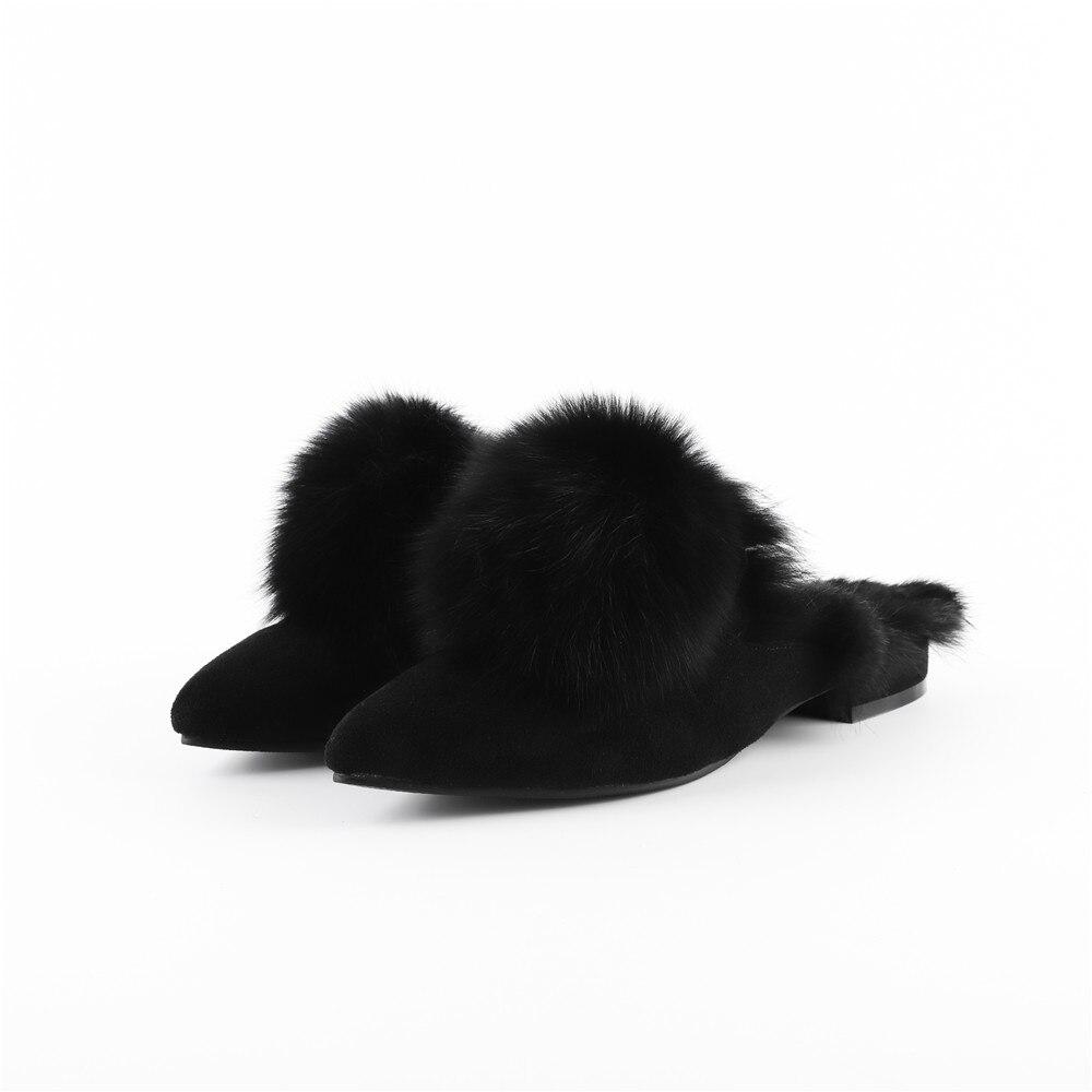 vert Femmes Cuir Talon Pompes Mules Bas Pointu Color De Kid En Chaussures Bout Suede Noir Dames Caramel Fourrure Hiver noir Automne Asumer Fahsion WUnTwEqBxt