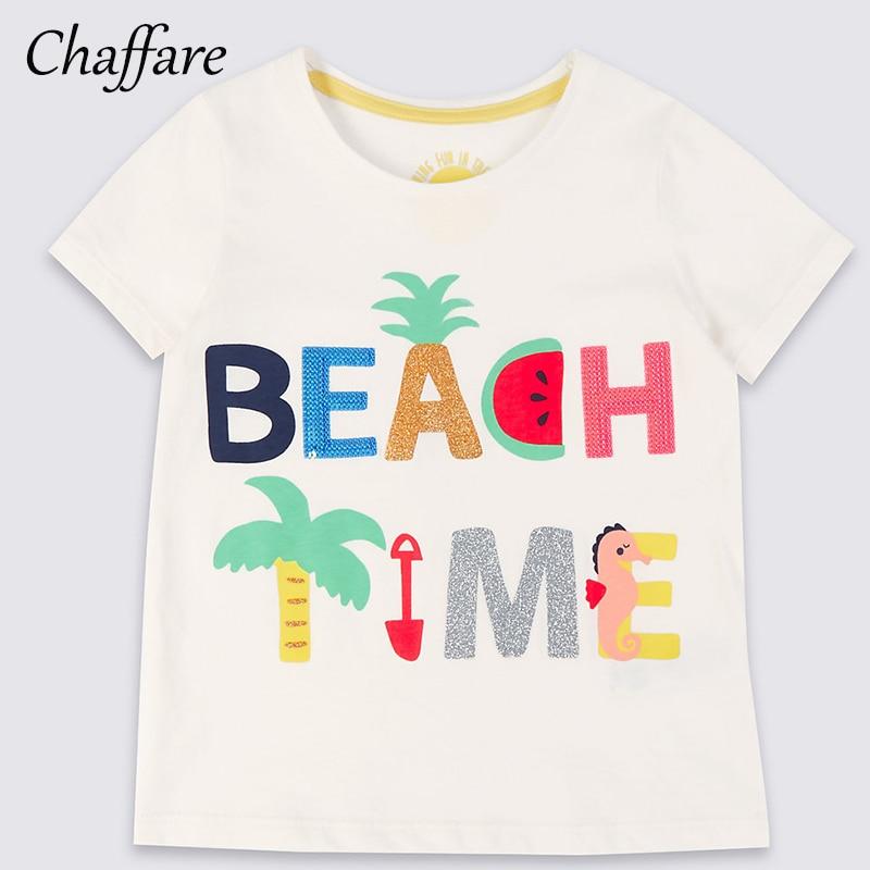 Chaffare Girls White T Shirt Kids 2018 Summer Odzież z krótkim - Ubrania dziecięce - Zdjęcie 1
