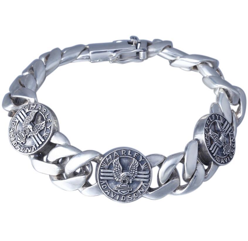 Стерлингового серебра 925 Ретро Серебряный мужская звено цепи круглого диска большой плоский браслет