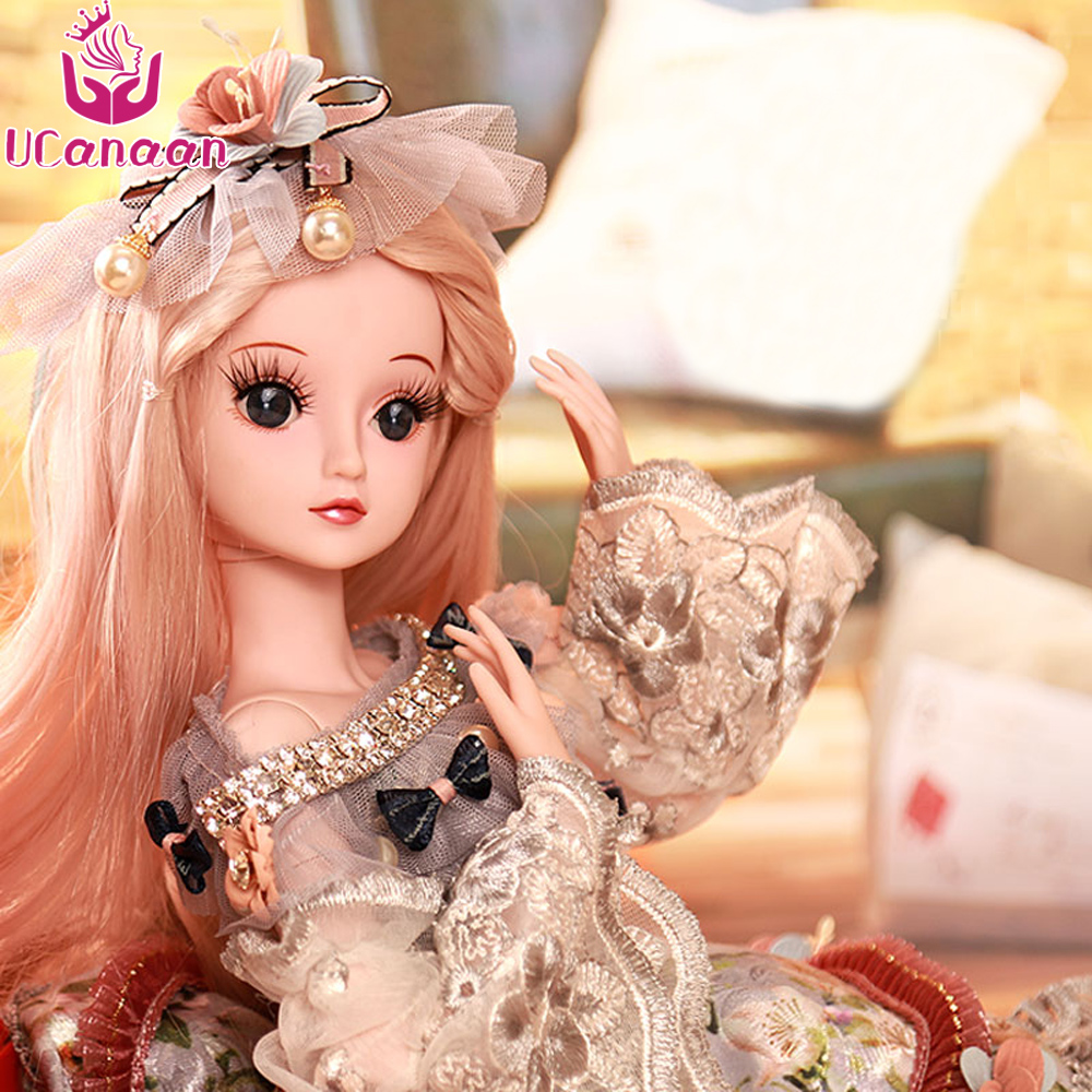 UCanaan 1/3 Female BJD Dolls 19 Ball Jointed Doll Children DIY Dressup SD Dolls With Full Outfits Makeup Handmade Toys For Girls shengboao 1 3 female bjd dolls full set makeup sd doll 18 ball jointed dolls beauty handmade toys for girls gift