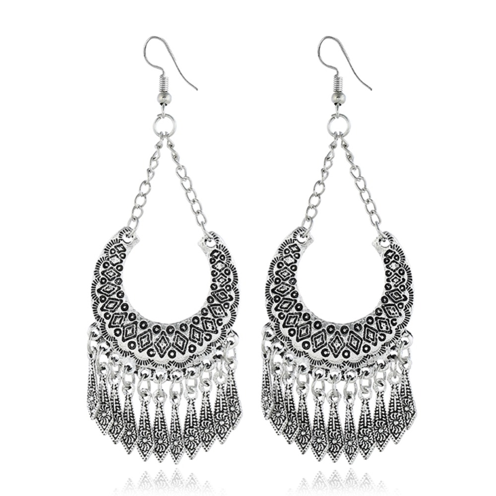 1 Pair Vintage Hollow Out Drop Earrings For Women Fashion Openwork Bohemian Female Boho Tassel Earrings in Drop Earrings from Jewelry Accessories