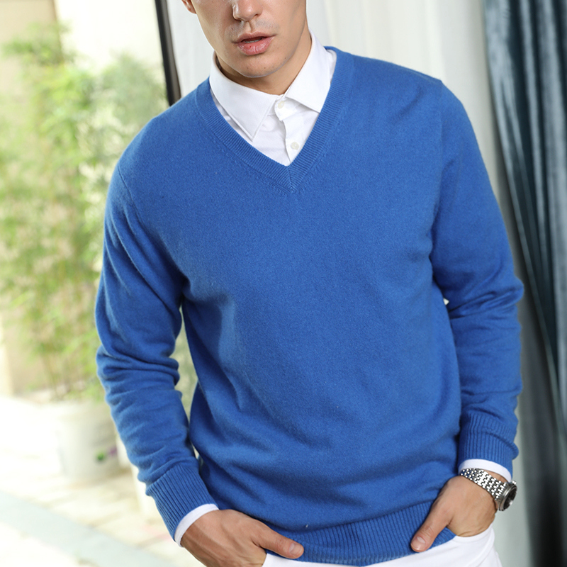 100% Real Cashmere Knitted Sweaters Men Vneck Pullovers 9Colors Standard Clothes Male Jumpers High Quality Man Sweater Knitwears