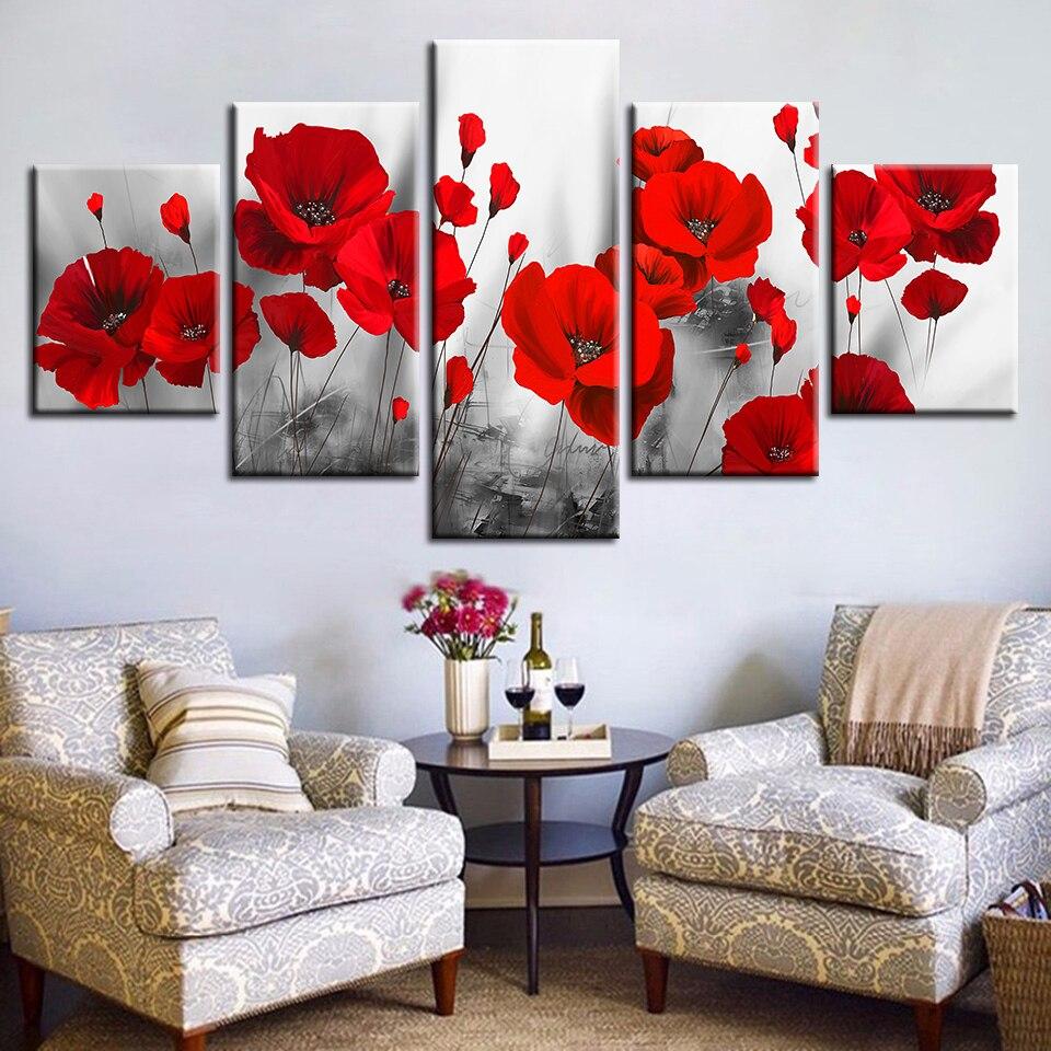 ผ้าใบพิมพ์ภาพห้องนั่งเล่น Wall Art Frameless 5 ชิ้นโรแมนติก Poppies ภาพวาดดอกไม้สีแดงโปสเตอร์ Modular ตกแต่งบ้าน