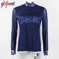 Blusas Women Blouses Femininas Turtleneck Lace Tops Y Camisas Mujer Womens 2016 Blusa Feminino Shirt XXXL