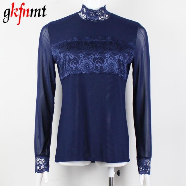 Mulheres blusas blusas femininas gola topos de renda y camisas mujer 2018 mulheres blusa feminino Camisa XXXL Plus Size Preto Azul