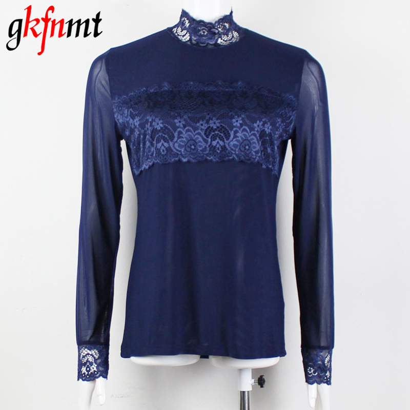 blusas women blouses femininas turtleneck lace tops y camisas mujer womens 2018 blusa feminino Shirt XXXL Plus Size Black Blue