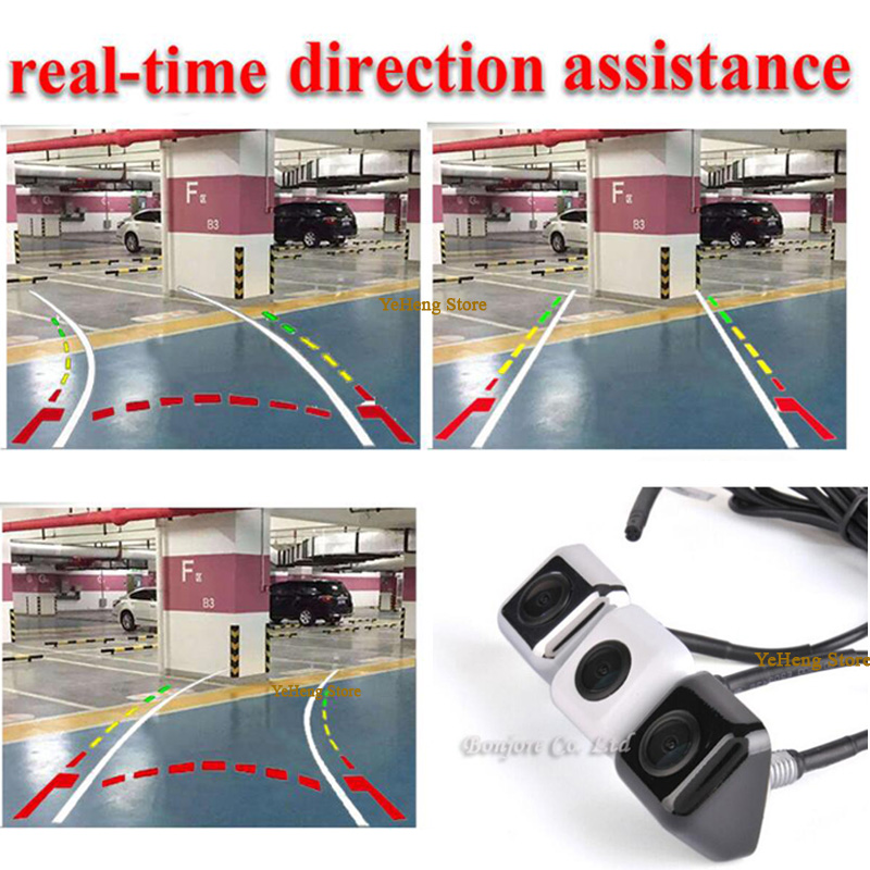 2017 New Intelligent Dynamic Trajectory Tracks Rear View Camera CCD Reverse Backup Camera Parking Assistance White Black Silver for toyota 4runner fortuner sw4 2005 2012 ccd car backup parking camera intelligent tracks dynamic guidance rear view camera