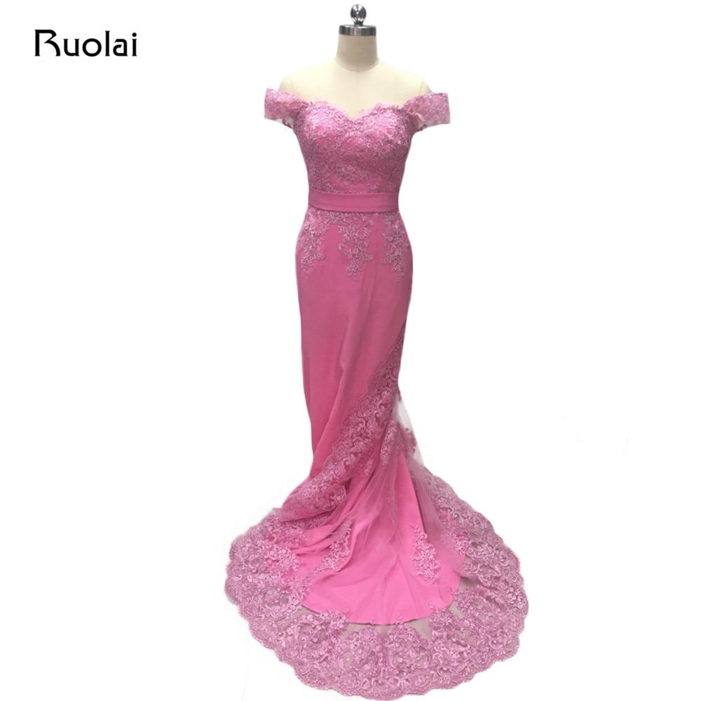 Foto real rosa vestidos de noche largo fuera del hombro apliques de - Vestidos para ocasiones especiales
