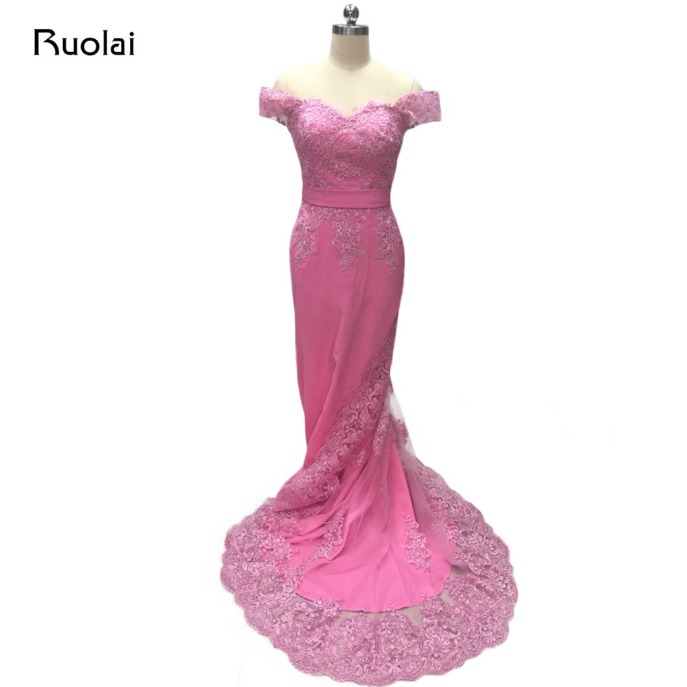 Real Photo Pink   Evening     Dresses   Long Off the Shoulder Applique Lace Mermaid   Evening     Dress   2019 Prom Party   Dress   MD11