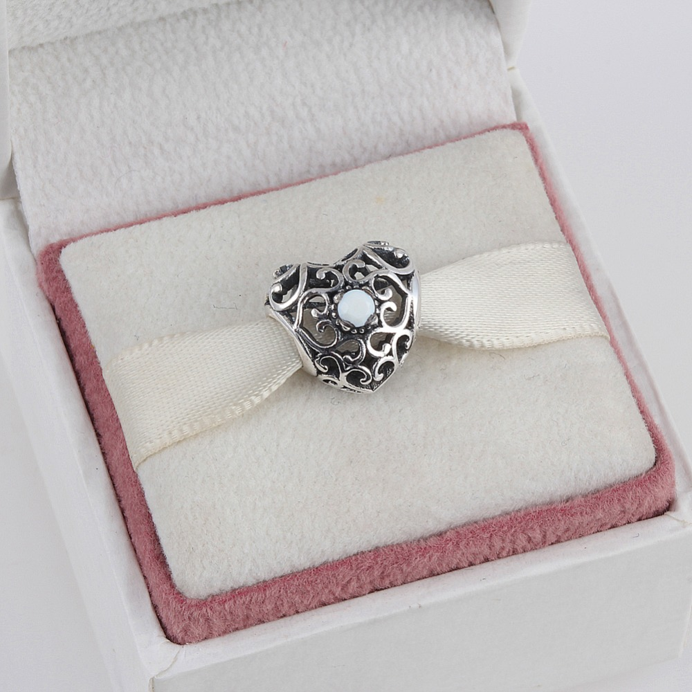 June 925 Sterling Silver Heart Birthstone Charms Beads Fits Pandora Charms Bracelet 12 Month Color Choose