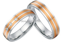 Пользовательские розовое золото цвет титановые для здоровья кольцо для помолвки кольца наборы