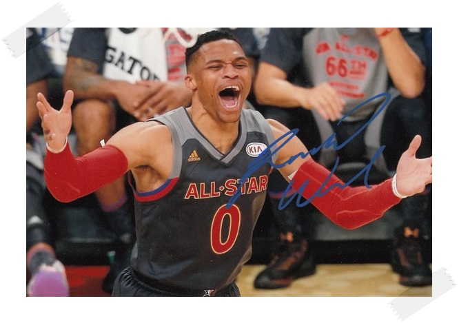 Russell Westbrook autographed signed with pen photo 4*6 inches famous sports star  freeshipping 02.2017 r2 westbrook одежда