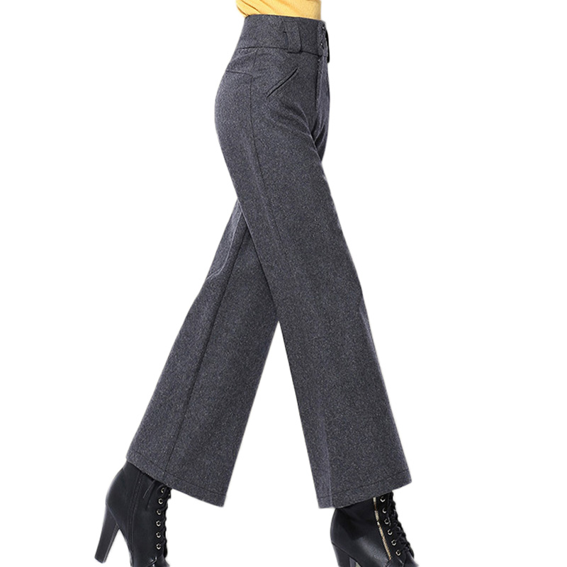 Woolen Pants Black Trousers Spring Female Wide High-Waist Winter Womens for Office Lady