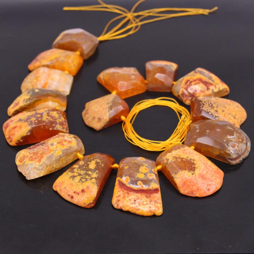 15.5strand Orange Raw Agates Slice Top Drilled Beads,Natural Onxy Drusy Faceted Slab Nugget Pendant Graduated Nacklaces Jewelry