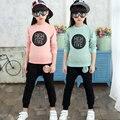 2017 Niñas de Corea Del alfabeto círculo traje de otoño Niños moda ropa de deporte set